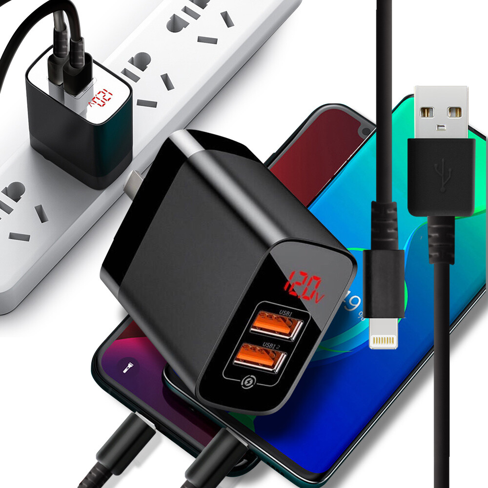 baseus倍思 鏡面顯示pps雙qc快充充電器+iphone/ipad系列傳輸充電線-黑色組