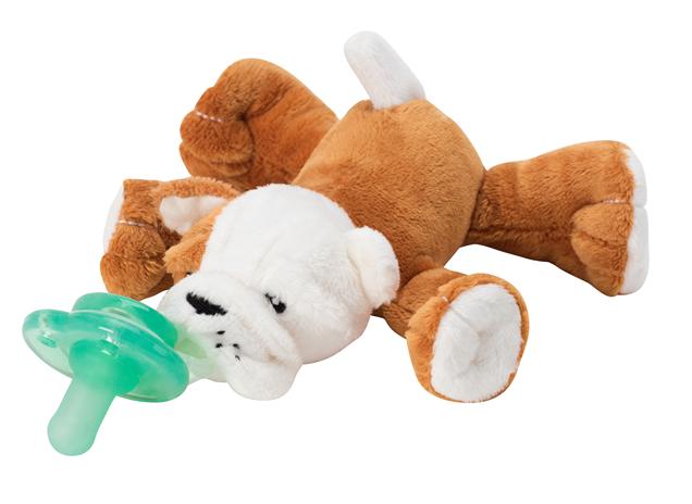 【紫貝殼】美國 nookums 寶寶可愛造型安撫奶嘴/玩偶-鬥牛犬【附贈母乳實感奶嘴,適用於90%以上奶嘴】