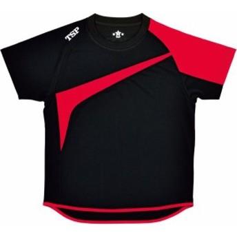TSP 卓球 男女兼用 卓球Tシャツ TT-180シャツ 19 ブラック/レッド Tシャツ(033408-0021)