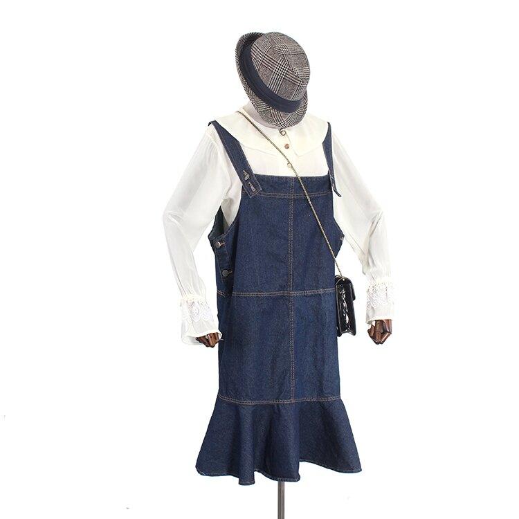 「樂天優選」牛仔背帶裙 減齡利器 四季通用寬鬆大碼oversized學院風荷葉邊牛仔背帶裙