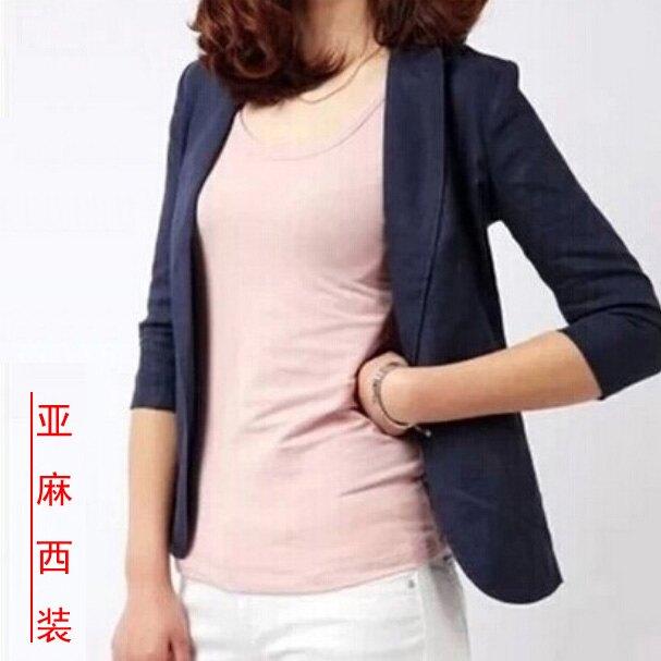 「樂天優選」西裝外套 韓版夏季亞麻小西裝七分袖修身一粒扣棉麻西服薄款外套女裝加大碼