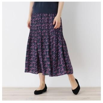 【ピンクアドベ/pink adobe】 ラベンダープリント プリーツスカート