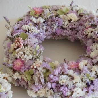 スターチスの春色モコモコリース インテリア*フレッシュ生花 壁飾り ピンク