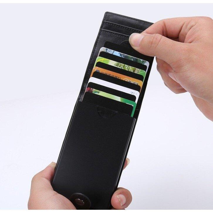 金屬簡約抽拉多功能名片/信用卡收納盒 金屬PU皮防磁RFID防盜刷卡盒