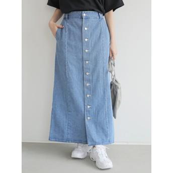 【6,000円(税込)以上のお買物で全国送料無料。】・SUGAR SPOON フロントボタンデニムスカート