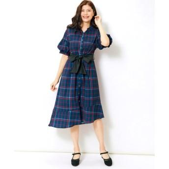 パフスリーブチェック柄ワンピース(ベルトリボン付)(MIIA) (大きいサイズレディース)ワンピース, plus size dress