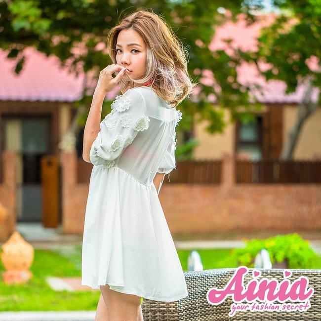 【首購免運費】雪紡迷情 深V透膚美腰罩衫 S-M AINIA