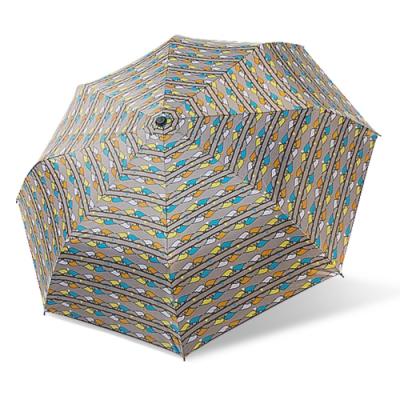 【雙龍牌】降溫涼感小無敵三折傘雨傘陽傘黑膠傘-鳥語歡唱