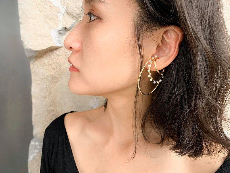 耳上風景 珍珠耳骨夾