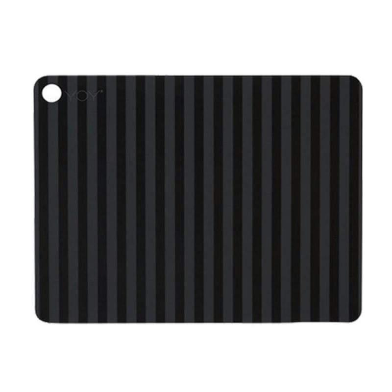矩形矽膠餐墊 灰黑條紋 (2入組)
