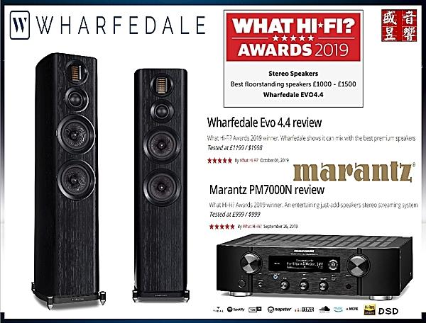 『盛昱音響』 英國 WHARFEDALE EVO 4.4 落地喇叭+Marantz PM7000N 無線串流綜合擴大機