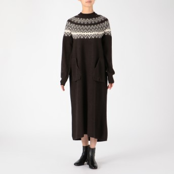 unfil(アンフィル)/ジーロンラムモヘアシルク混ジャガードニットドレス