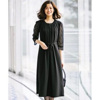 洗えるフォーマル前開きレース使いワンピース(ロング丈)【喪服。礼服】 (ブラックフォーマル)funeral outfit, plus size funeral outfit