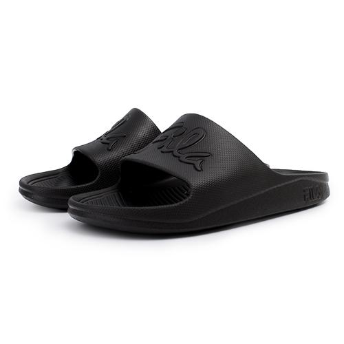 FILA 輕量防水一片式拖鞋 草寫LOGO 男女款 情侶鞋 全黑 4-S326U-000