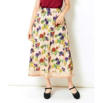 裾オーガンジー切替花柄ロングスカート(MIIA) (大きいサイズレディース)スカート, plus size skirts