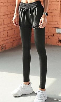 健身褲女假兩件彈力速幹緊身瑜伽褲女跑步顯瘦高腰提臀運動褲女- manchu002