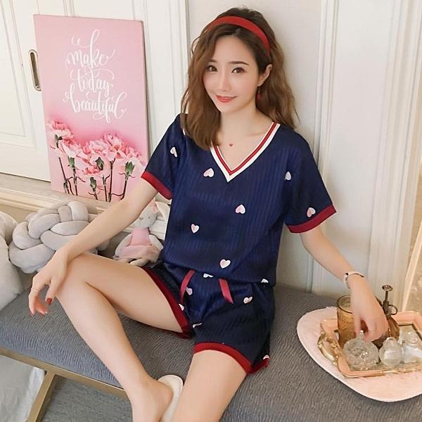 休閒套裝女韓版仿真絲綢V領愛心冰絲短袖短褲時尚兩件套 淇朵市集