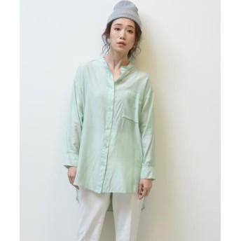 MAYSON GREY/メイソングレイ 【socolla】台衿シアーシャツ グリーン M