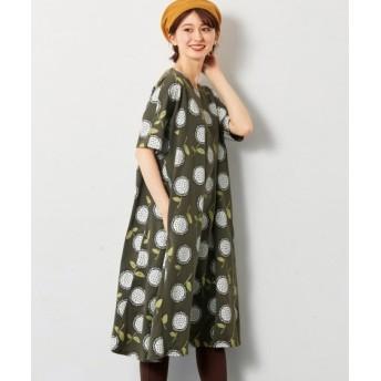 北欧風プリントのふんわりカットソーワンピース (大きいサイズレディース)ワンピース, plus size dress