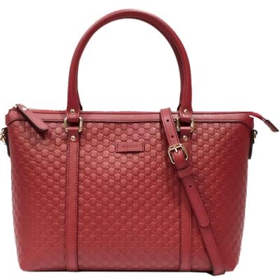 GUCCI 經典雙G緹花全皮革壓紋兩用托特包 紅色