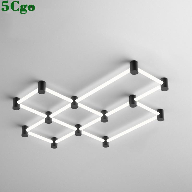 5Cgo【燈藝師】創意北歐風格客廳燈具220V簡約現代大氣LED辦公室長方形燈管吸頂燈603071868085