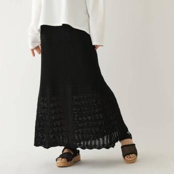 オゾック OZOC クロシェロングスカート (ブラック)