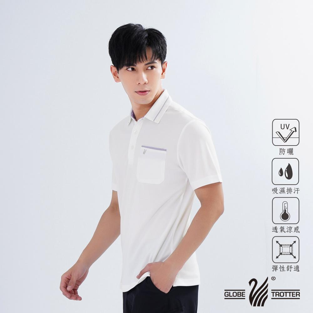 【遊遍天下】男款格紋抗UV吸濕排汗POLO衫GS1011白色