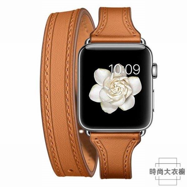 適用applewatch錶帶真皮雙圈蘋果手表腕帶iwatch創時代3C 交換禮物 送禮