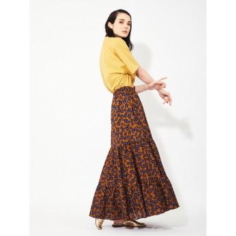 花柄ティアードロングスカート