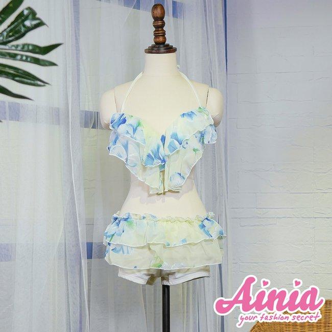【首購免運費】清透女神 荷葉豐胸綁帶三件式泳衣 M-XL AINIA