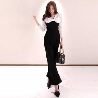 オールインワン S-XL オーバーオール Vネック ハイウエスト ワイドパンツ バギーパンツ スリム 着痩せ 韓国風 黒白バイカラー S-XL 72689