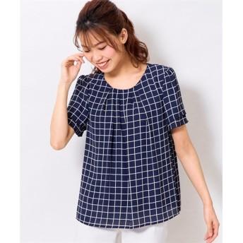 【大きいサイズ】 フロントタックブラウス(吸汗速乾裏地付)  plus size shirts, テレワーク, 在宅, リモート