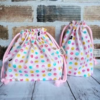 お弁当袋&コップ袋セット・猫と水玉柄(ピンク)【入園入学・女の子】