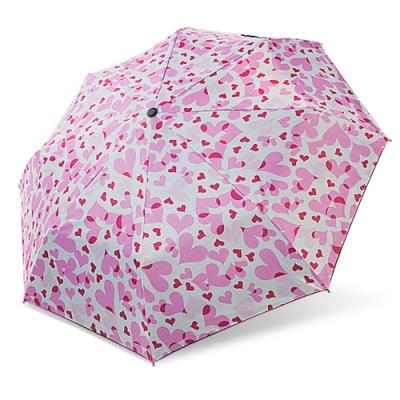 【雙龍牌】降溫涼感小無敵三折傘雨傘黑膠傘B6313-粉紅愛心