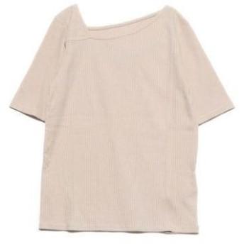 ジーラ GeeRA リブアシメネックTシャツ (ベージュ)