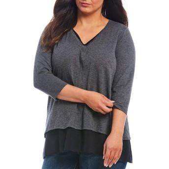 [ヴィンスカムート] レディース Tシャツ Plus Size Layered Hem Knit Cotton Blend [並行輸入品]