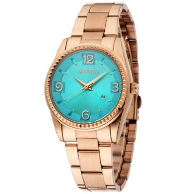 MANGO 耀眼奪目不鏽鋼時尚腕錶-玫金*藍/36mm
