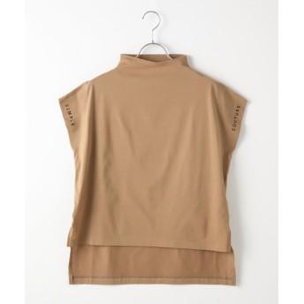 Verseau/ヴェルソー {洗える}シルケットコットン天竺 ショルダーロゴ刺繍ボトルネックTシャツ モカ フリー