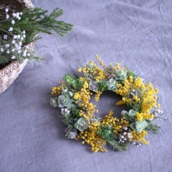 草花とミモザの春風リース ︎18センチwreathe