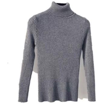 冬の女性のニットタートルネックセーターカジュアルソフトポロ襟セーターファッションスリムバイパー弾性トレーナー (Color : Gray, Size : M)