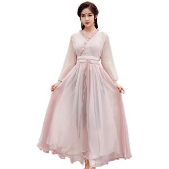 ONLINE レディース 国風 ドレス 春と夏と秋 シフォンのワンピース 漢服 中国の服装を改良する シフォン ワンピース 復古 気質 Vネック ロングスカート S-XL (M)
