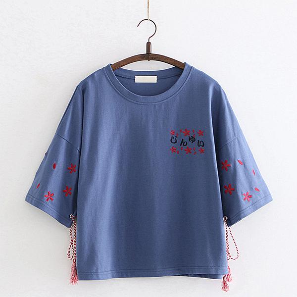 日系森女刺繡繫帶上衣(2色F碼)*ORead*