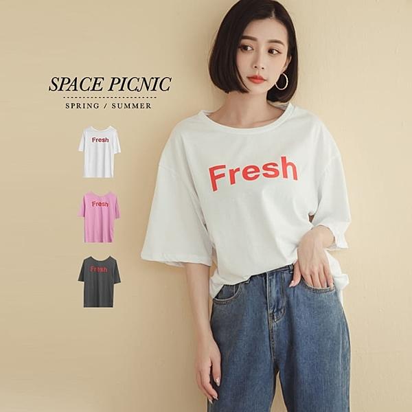 上衣 Space Picnic|Fresh字母寬鬆短袖上衣(現貨)【C20033079】