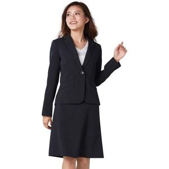 [nissen(ニッセン)] スーツ 上下 セット (セミフレアスカート ジャケット) レディース 洗える 定番 オフィス ビジネス クロ×グレーストライプ 7号