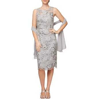 [アレックスイブニングス] レディース ワンピース Petite Size Embroidered Sequin Lace Roun [並行輸入品]