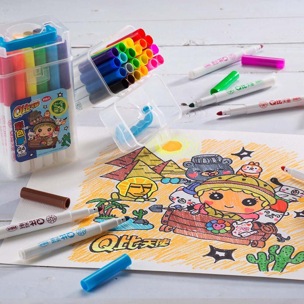 彩色筆 利百代 w-006 24色q比天使彩色筆