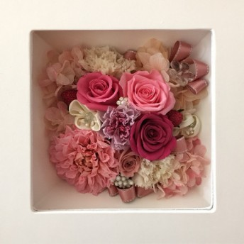 ◆オーダーメイド彫刻◆受注制作◆ プリザーブドフラワー ボックススタンドアレンジメント 母の日 誕生日
