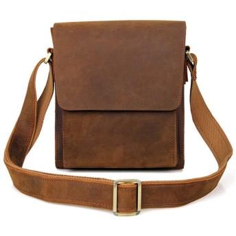 TLMYDD メンズショルダーバッグ、メッセンジャーバッグの革男のバッグの革のコンピュータバッグ22cmx8cmx25.5cm ブリーフケース (Color : Brownish yellow)