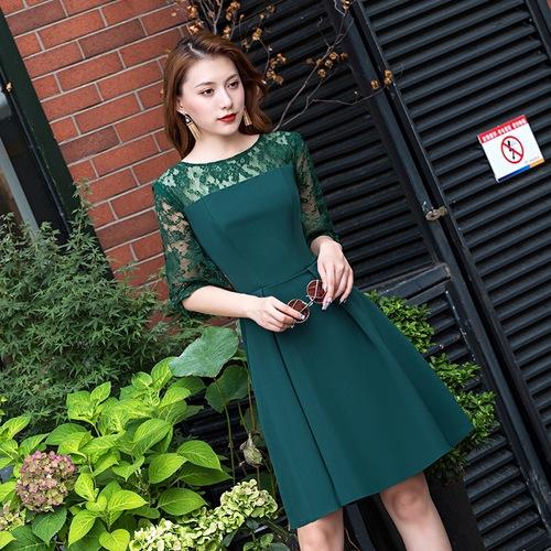 Olivia奧莉精品  蕾絲拼接收腰裙裝洋裝小禮服大尺碼洋裝綠色XS~2XL/五色