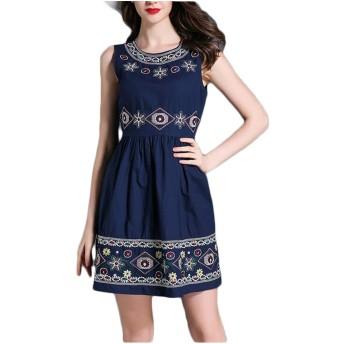 レディースヴィンテージスリム刺繍ノースリーブAラインドレス SXBag (Color : Blue, Size : XL)